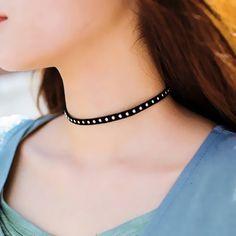 Punk Rivet Necklace Neck Accessories Black Simple Trendy Women Choker Necklace 1L2016