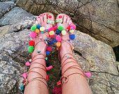 "SALE !!! Tie Up Gladiator Leather Sandals, Greek Leather Sandals, Boho Sandals, Pom pom Sandals, ""Nerissa"""