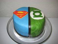 Superman/Green Lantern cake (inside of cake was half chocolate w/ cherry filling and half pistachio lime)