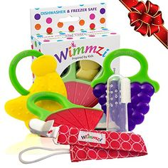 Teething Toys Set for Baby - 3 BPA-Free Silicone Soft Fruit Teethers + Pacifier/Teether Clip Holder + Finger Toothbrush, Best Sore Gums Relief for Infant and Toddler, Freezer Safe, WIMMZI Toddler Toys, Baby Toys, Infant Toddler, Teething Pain Relief, Baby Toothbrush, Teething Toys, Childrens Gifts, Freezer