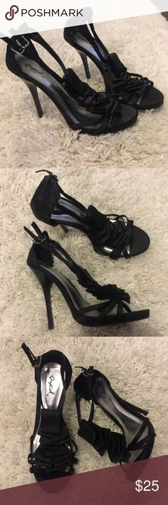 🆕 Qupid Classy Black Strap Ankle Heels Size 6. New, never been worn. Does not come in original box Qupid Shoes Heels
