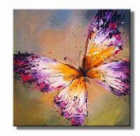 vlinders schilderijen - vlinder schilderij  paars geel bruin