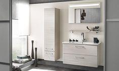 miroir lumière intégrée, meuble sous-vasque 2 niveaux de rangement, vasque en céramique blanc Delpha Unique 93 Bathroom Cabinets, Bathroom Medicine Cabinet, Ikea, Bathroom Design Layout, Modern Lounge, Living Room Grey, Interiores Design, Double Vanity, Modern Decor