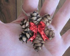 Mini Pine Cone Ornament Wreath with a Red Bow, Country Christmas Gift Topper, Natural Primitive Holiday Decor, Hemlock Hanging - Deko Weihnachten - Pinecone Ornaments, Diy Christmas Ornaments, Christmas Tree Decorations, Holiday Crafts, Christmas Wreaths, Ornament Wreath, Xmas, Yule Crafts, Cardinal Ornaments
