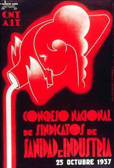 By Vicente Marco Ballester, 1937, Congreso Nacional de Sindicatos de Sanidad e Industria, Republican poster Spanish Civil War. (Spain)