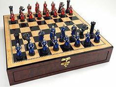 Medieval Times Crusades Warrior Red  Blue Chess Set Hand Painted w 17 Gloss Storage Board ** Visit the image link more details.