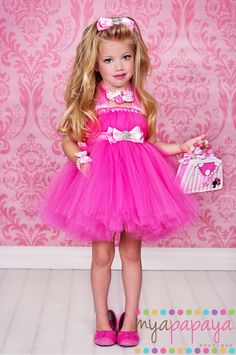 Barbie Costume Tutu Dress 12months-5t matching hair bow Birthday, Halloween, etc THE ORIGINAL. $69.99, via Etsy.