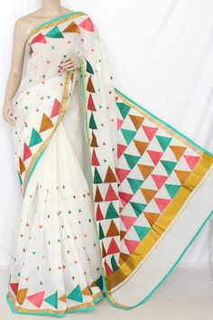 Off-White Multi-color Embroidered Kerala Cotton Handloom Saree (With Blouse) 13782