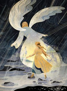 Victo Ngai: Guardian Angel. Latest illustration for Guidepost, accompanying a story about a WWII refugee shielded, kept dry and safe by a guardian angel through her stormy night walk through rural Yugoslavia three weeks before x'mas 1944. Big thanks to AD Stephen Wilder.