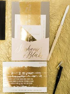 Painterly Gray, Pink, and Gold Foil #Wedding Invitations with Calligraphy via Oh So Beautiful Paper: http://ohsobeautifulpaper.com/2014/06/stephanie-blakes-painterly-gold-foil-wedding-invitations/ | Invitation + Photo: Papellerie