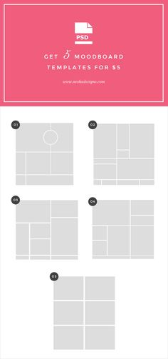 buy 5 PSD moodboard templates for $5