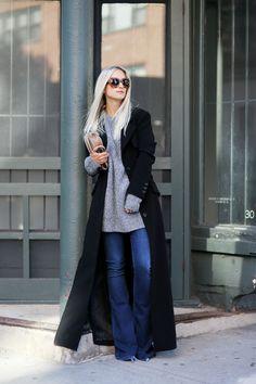 #fashion #winter #outfits Charlotte Groeneveld  + black coat + casual knitwear + denim jeans   Coat: Karen Millen, Knit: &Other Stories, Jeans: True Religion.