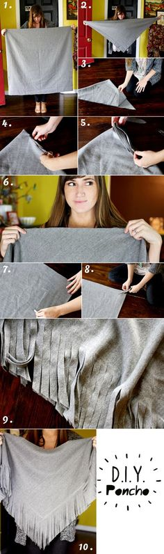easy, no sew wool poncho-I saw one of these made from an old wool skirt instead of a yard of wool for a little girl. so cute.