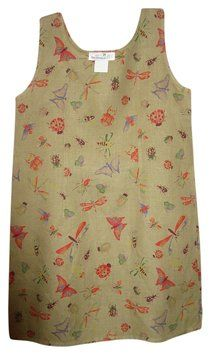 SPRINGTIME means olive Linen W/Multi Color Bugs (Butterfiles, Dragonflies, Ladybugs, etc) & Matching Shortsleeve Blouse/Jacket -BOTH for  $30.    Wear both pieces layered together OR Separate. CUTE!