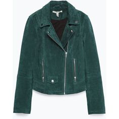 Zara Suede Biker Jacket ($149) ❤ liked on Polyvore featuring outerwear, jackets, coats & jackets, zara, emerald, suede leather jacket, suede motorcycle jacket, green moto jacket, zara jacket and lined jacket