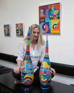 Painted Plant Pots, Painted Gourds, Gourd Art, Bottle Art, Mixed Media Art, Bean Bag Chair, Abstract, Wood, Creative