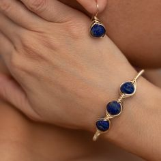 Items similar to Lapis lazuli earrings & Bracelet set.Bridesmaid jewelry set silver on Etsy - Lapis Lazuli Set. Gothic Jewelry, Metal Jewelry, Diy Jewelry, Beaded Jewelry, Silver Jewelry, Beaded Bracelet, Silver Ring, Jewelry Supplies, Bar Stud Earrings