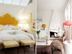flamingo, yellow headboard, minimalistic decor what's not to love? Home Bedroom, Girls Bedroom, Yellow Headboard, End Of Bed Bench, Yellow Interior, Chula, Home Decor Inspiration, Sweet Home, Living Room