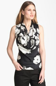 Floral Cowl Neck Stretch Silk Blouse