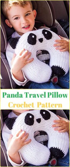 Crochet Panda Travel Pillow Paid Pattern - Crochet Travel Neck Pillow Patterns Tutorials