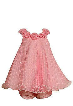 NWT Bonnie Jean Pink Princess Babydoll Dress Bloomers Set Baby Girl 12 Month 12M