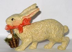 Bittersweet House Folk Art Chalkware Rabbit from antique chocolate mold bittersweethouse.com