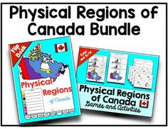 Physical Regions of Canada BUNDLE Geography Of Canada, Curriculum, Homeschool, Physical Geography, Grade 3, Social Studies, Coloring Books, Physics, How To Get