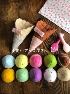 [It is very popular with children! 】 Ice shop l size cute embroidery, order production Crochet For Kids, Sewing For Kids, Diy For Kids, Crafts For Kids, Felt Diy, Felt Crafts, Diy And Crafts, Felt Cake, Felt Play Food