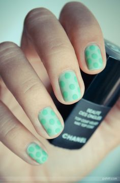 Same color different shade of polka dots. I like this idea