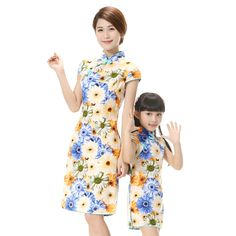 Mother daughter dresses girl flower dress traditional Chinese clothing high collar vintage princess dress party cheongsam qipao