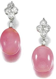 Pair of Conch Pearl and Diamond Earrings