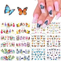 Comdoit Butterfly Nail Art Stickers Water Transfer Nail Decals Flowers Butterfly Designs for Nails Supply Watermark DIY Colorful Butterflies Nail Art Foils for Nails Design Manicure Tips Decor(12Pcs): pink butterfly nails, purple butterfly nails, Butterfly Nail Art, Flower Nail Art, Butterfly Design, Purple Butterfly, Nail Art Stickers, Nail Decals, Transparent Nails, Nail Supply, Nail Accessories
