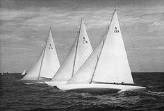 8mR boats 'Wanda' (1937), 'Katrina' (1939)  and 'Pinuccia' (1939) racing in Sandhamn in 1947.