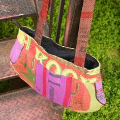 Fair Trade Recycled Rice Bag Purse — handmade in Nepal — find it at Fair & Square Imports — This purse is made out of recycled rice bags in Nepal. Assorted colors.