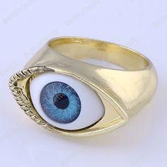 1PC Blue Evil Eye Golden Fashion Finger Ring US 7 Korean Jewelry Free ship