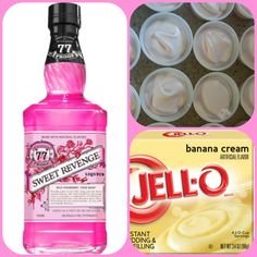 Strawberry Banana Pudding Shots  1 small Pkg. banana cream instant pudding ¾ Cup Milk 3/4 Cup Sweet Revenge strawberry liqueur  8oz tub Cool Whip  Directions 1. Whisk together the milk, liquor, and instant pudding mix in a bowl until combined. 2. Add cool whip a little at a time with whisk. 3.Spoon the pudding mixture into shot glasses, disposable shot cups or 1 or 2 ounce cups with lids. Place in freezer for at least 2 hours Pudding Shot Recipes, Jello Pudding Shots, Jello Shot Recipes, Alcohol Recipes, Drink Recipes, Alcholic Drinks, Non Alcoholic Drinks, Strawberry Banana
