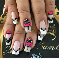 piedra Hot Nails, Hair And Nails, Iris Nails, Henna Nails, Anchor Nails, Nail Tip Designs, French Tip Nails, Flower Nails, Stiletto Nails
