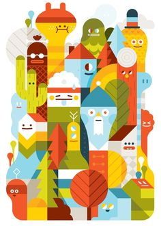 I absolutely adore the bright colors and the bold shapes that LouLou & Tummie use in this illustration. Despite each shape being unique, they flow together well.