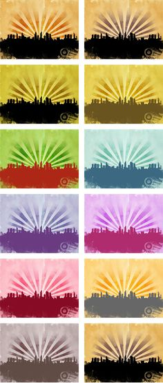 Grunge city set containing 12 backgrounds in different styles. All backgrounds are made in high resolution, so they can be used both in web and print related wo Backgrounds Free, Abstract Backgrounds, City Background, City Landscape, Flyers, Grunge, Posters, Colours, Graphic Design