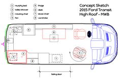 The actual layout plans for a luxury cargo van conversion project. An affordable DIY modification of a standard van into a class B RV. Ford Transit Conversion, Cargo Van Conversion, Camper Conversion, Sprinter Conversion, Diy Camper, Camper Van, Camper Ideas, Van Conversion Project, Class B Rv