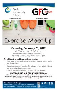 Join us for an exhilarating & informational session with Get Fit Clovis on Saturday, February 25th! Don't miss out on this public meet-up! This event will be held in Academic Center Building 2 in the Dance Room.  #Fitness #Clovis