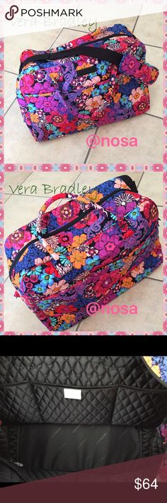 ☘️Vera Bradley☘️Weekender Floral Fiesta Travel Bag ⚡️Price Firm (Low baller will be blocked. Sorry!)  ⚡No Trades!! ❤It has a back sleeve so you can put it on your roller suitcase handle! Carry on size!  ❤New with tags ❤Color: Floral Fiesta (New outlet exclusive pattern!!)  ❤Check my other Vera Bradley items!! Vera Bradley Bags Travel Bags