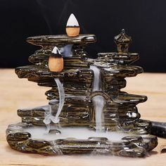 "Ceramic Backflow Incense Holder Burner ""Flowing Water"" #Unbranded"