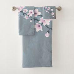 Dusky Pink Grayish Blue Cherry Blossoms Bath Towel Set - flowers floral flower design unique style