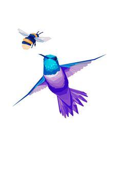 Hummingbird, Blue, Purple, Geometric illustration, Bird print, Original illustration