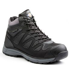 49546b6d646 Dickies Fury Mid Men Size 10.5 Black Gray Rubber Mesh Steel Safety Toe Work  Boot