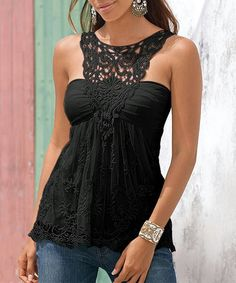 #Blusa #negra #encaje #sinmangas