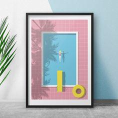 The Pool Print - 30 x 40 Print - Tropical Summer Decor - Swimming Pool - Modern Beach Interior Art - Modern Bold Pink Wall Art - Hockney Pink Wall Art, Beach Wall Art, Camberwell College Of Arts, Framed Prints, Art Prints, Pink Walls, Diy Art, Amazing Art, Digital Prints
