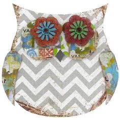 Gray & White Chevron Owl Wall Decor