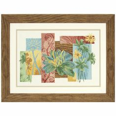 """Floral Abstract  FLORAL ABSTRACT WITH IMPACT. Counted cross stitch kit includes 14-count ecru Aida cloth, presorted DMC cotton floss, needle, chart and instructions. 17 1/4"""" x 11 1/4"""" without mat and frame. Imported from Belgium. A Stitchery exclusive!    ****   Floral Abstract  Item #:T25006  Price:$69.99"""